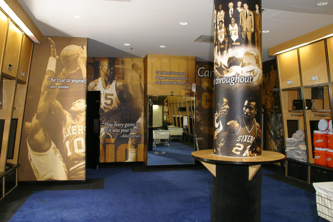 locker room wall graphics with pillar wrap