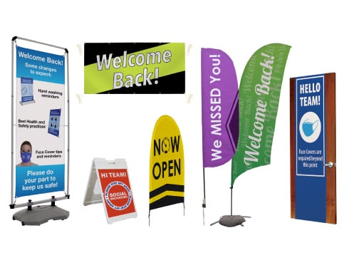 welcome back signage and products