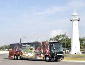 side view of wrap for bus