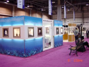 trade show booth with lightboxes