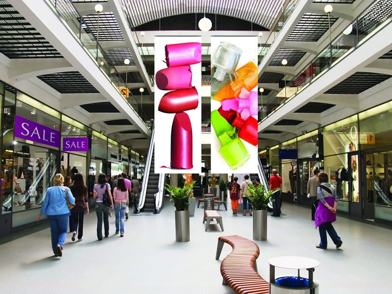 colorful vertical banner in a shopping mall