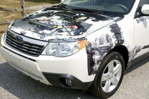 see through car wrap front view
