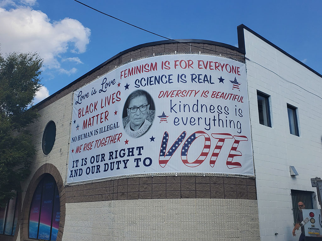 Justice Ruth Bader Ginsburg banner on a building